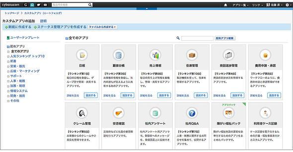 図6 カスタムアプリをより簡単につくることができるユーザーテンプレートが豊富に用意されている