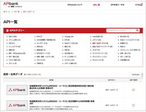 APIbankのAPI一覧画面(APIのカテゴリー分類がある)