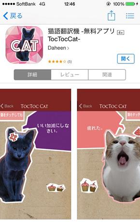 猫語翻訳無料アプリ「TocTocCat」