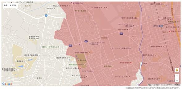 マップ右側にある湘南台駅は人口集中地区ですが、左側の慶応SFCは人口集中地区外
