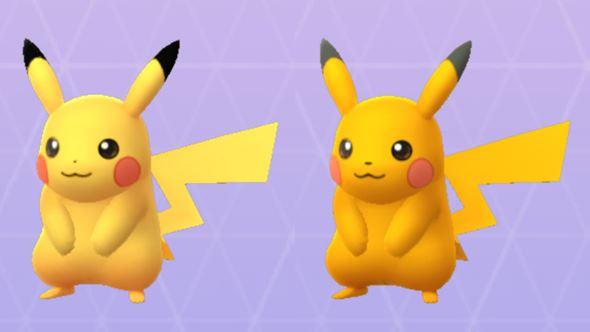左が通常色、右が色違い。並べると色の違いがよく分かります。色違いピカチュウは全体に濃いイエローですが、耳はグレーです