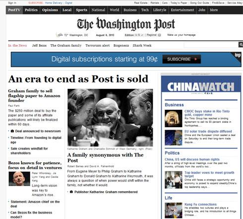Amazon CEO、ワシントン・ポストを2億5000万ドルで買収 - ITmedia ...