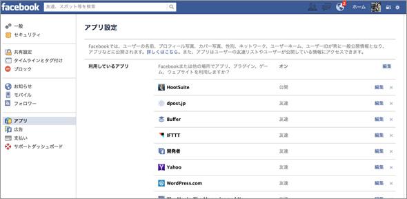 Facebookの「利用しているアプリ」