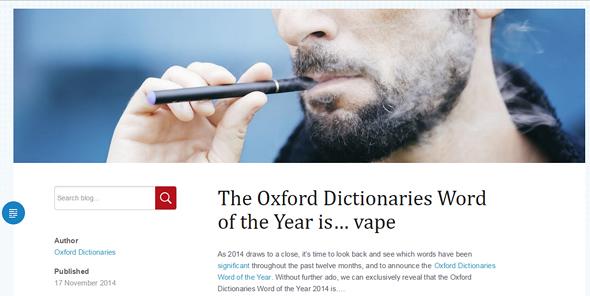 2014年の単語に選ばれた「Vape」(オックスフォード英英辞典のサイトより)