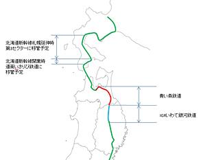 東北・北海道の寝台特急運行経路(地図出典:白地図専門店)