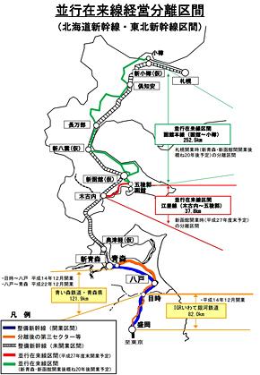 東北新幹線・北海道新幹線の並行在来線図(出典:国土交通省)