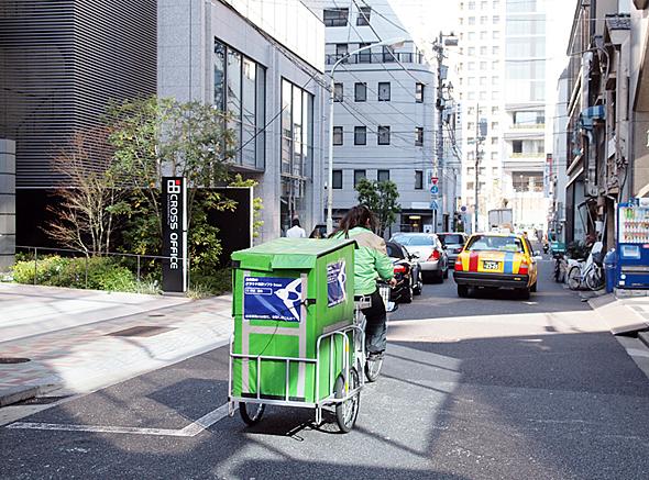 自転車を使うことで配送の低価格化を実現しているエコ配