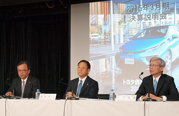 左からトヨタの大竹哲也常務役員、豊田社長、小平信因副社長