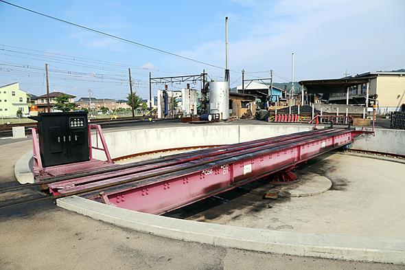島田市が9000万円かけて設置した新金谷駅の転車台。もとから千頭駅にあった転車台と組み合わせて、常に蒸気機関車を前向きで運行できるようになった