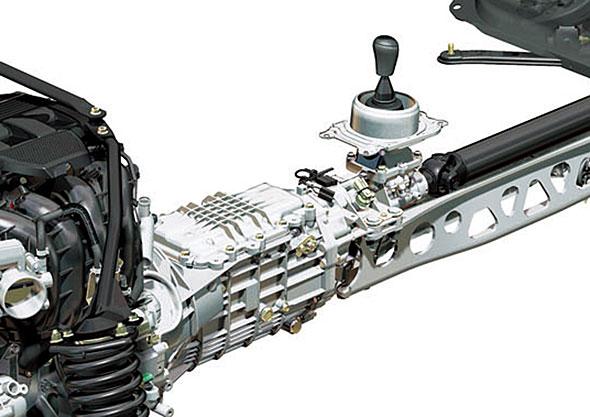 NCロードスターMT。旧型ロードスターのトランスミッションは、旧来通りのリブが立てられている。むしろこれが普通のトランスミッションである