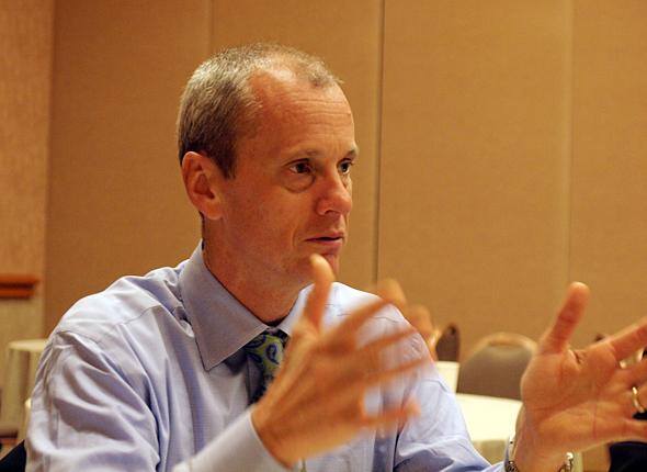 米IBM ビジネスアナリティクス部門 ゼネラルマネジャーのロブ・アッシュ氏。Cognos 10の発表直後にインタビューした
