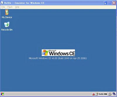 エミュレータ上で起動したWindows CE 6