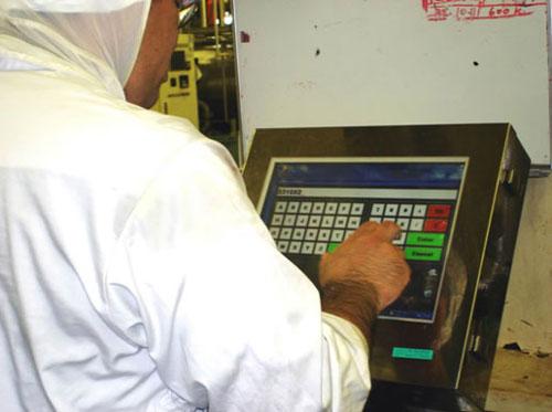 フジッコの生産現場で使用されているタッチパネル