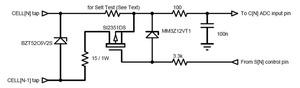 図2 保護機能付きLTC6802セルバランス回路(1セルだけの回路を表示)