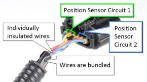 写真1 アクセルペダルとエンジンECUの間の配線(提供:TMS社)