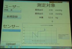 PC上で計測したデータを表示し、サーバへアップロード