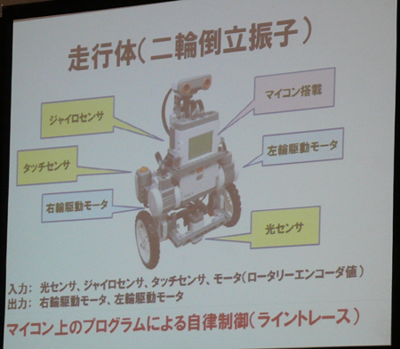 走行体は「LEGO Mindstorms NXT」を利用した2輪倒立振子ロボットを使う