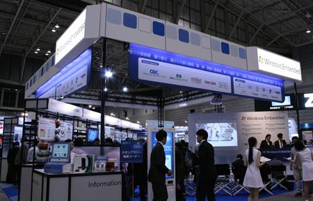 画像1 ET2010に出展したマイクロソフトの「Windows Embeddedブース」。15社ものパートナー企業がブースを構えていた