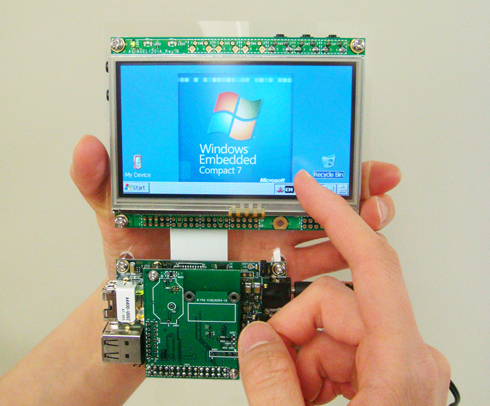 Armadillo-440+Armadillo-WLAN環境でWindows Embedded Compact 7を動作させている様子