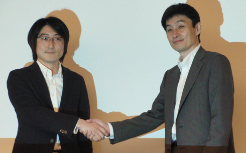 Sassor 代表取締役 石橋秀一氏とユビキタス 代表取締役社長 三原寛司氏