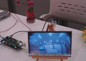 写真2GVIFを用いた車載情報系ネットワークのデモ(提供:ソニー)