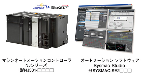 「マシンオートメーションコントローラ Sysmac NJシリーズ」および「マシンオートメーションソフトウェア Sysmac Studio」のイメージ
