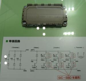 図1 富士電機の「Si-SiCハイブリッド・パワーモジュール」