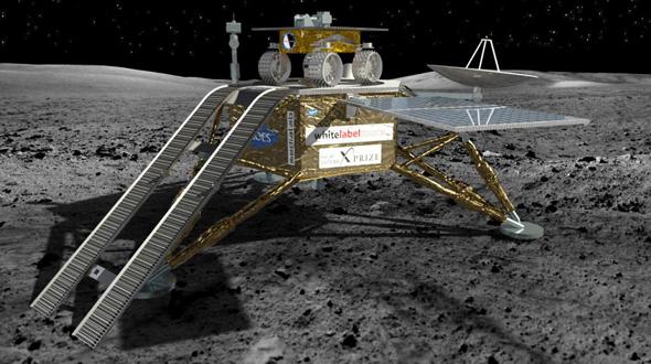 ローバーはランダーの上に搭載されており、着陸後にスロープを使って月面に降りる