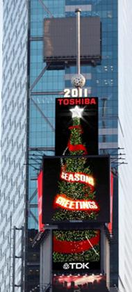 東芝とTDKによるタイムズスクエア・クリスマスイルミネーション・コラボレーション(イメージ)