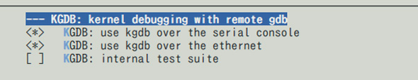 「kernel debugging with remote gdb」を選択