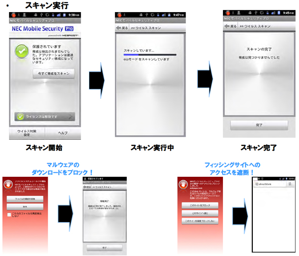 「NEC Mobile Security Pro」の画面イメージ