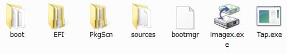 WindowsPEイメージのフォルダおよびファイル