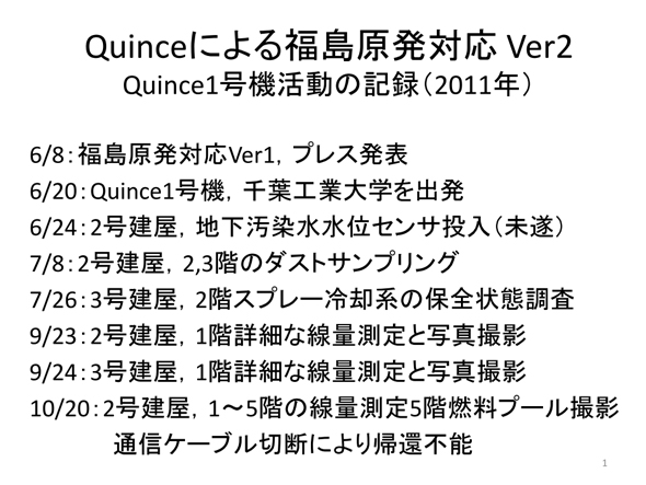 Quince1号機の活動実績