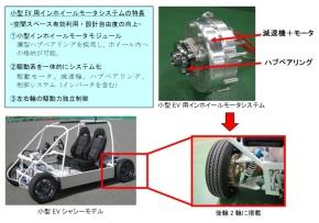 小型EV用インホイールモーターの特徴と車両への搭載位置