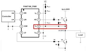 インバータ回路におけるパワー半導体とゲートドライバICの接続例
