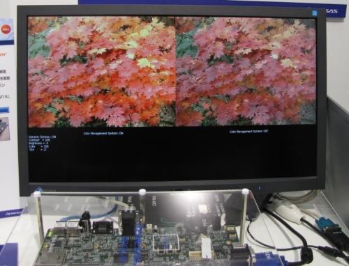 「人とくるまのテクノロジー展2012」で披露した「カラーマネージメントシステム」のデモ