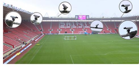 ゴール判定技術を採用したサッカースタジアムのイメージ