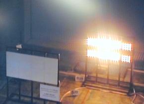 マイクロ波を用いたワイヤレス給電システムの実験の様子