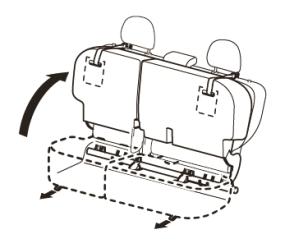 後部座席は6対4に分割してクッション部をチップアップできる