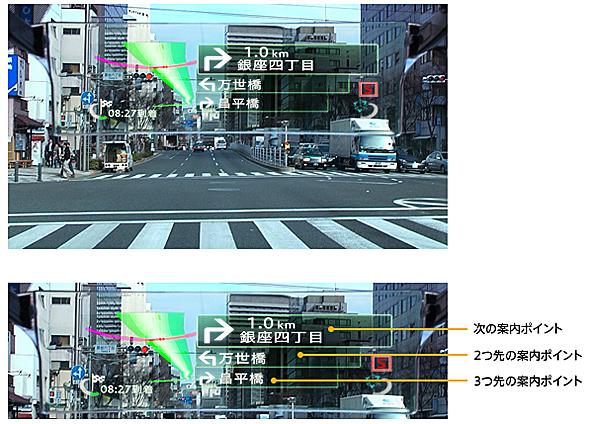 信号などで停車する際には自動的に交差点リストを表示する