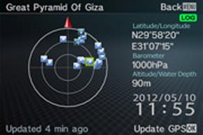フィールドでの方位確認や緯度、経度の確認ができるアクティブギア画面