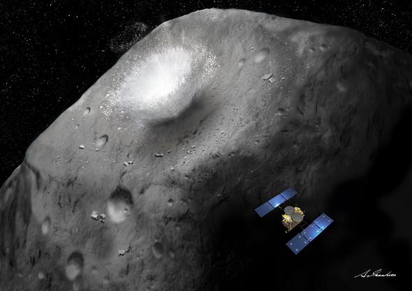 小惑星表面に激突した瞬間