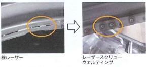 「レーザースクリューウェルディング」(右)と線レーザーによる溶接の比較