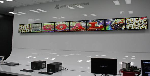 8台のディスプレイによる多画面制御ソリューションのデモ画面