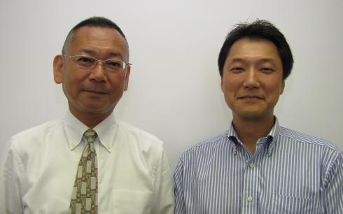 dSPACE Japanの清水圭介氏(右)とBTC Japanの萩原勝氏