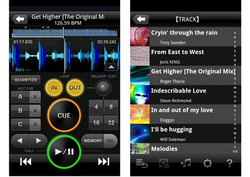 Android版「rekordbox」の画面イメージ
