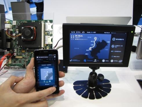 カーナビとスマートフォンの連携デモ