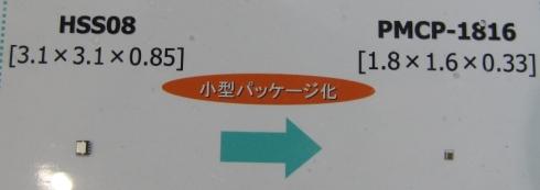HSSO8(左)と「PMCP」を適用したMOSFETのサイズ比較
