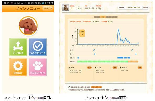 PCおよびスマートフォンのアプリ画面