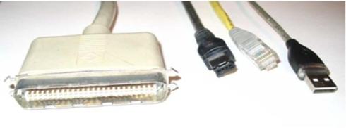 図3 SCSI並列バスケーブルと直列バスケーブル
